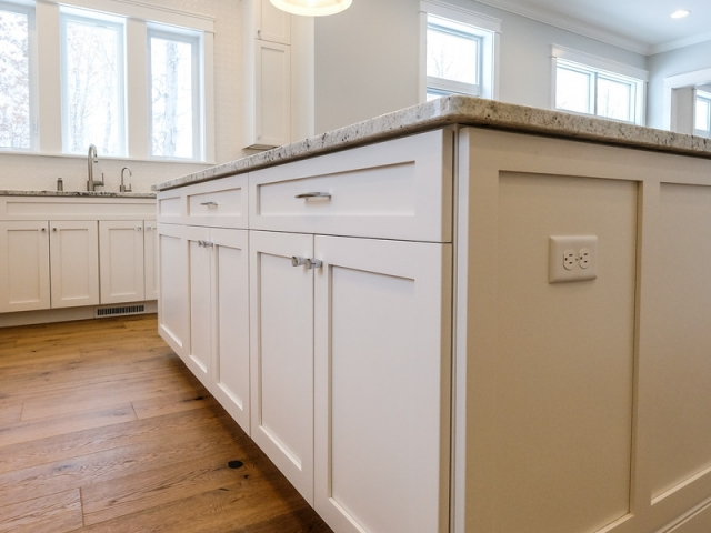 kitchen island close up with granite countertops